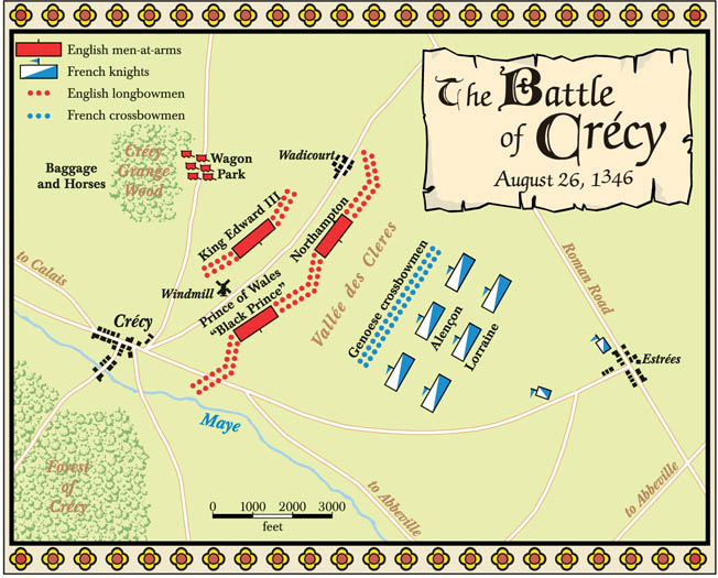 King Edward deployed his army on high ground so that the French would have to attack uphill. The English line overlapped the flanks of the attacking French, allowing the English archers to fire into the enemy flanks.