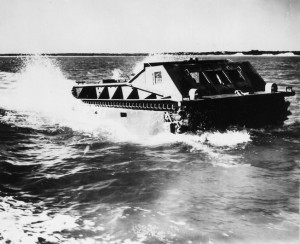 An Amtrak of the U.S. Marine Corps churns toward the shoreline during amphibious exercises at New River, North Carolina, in 1941