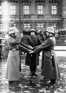 A German soldier takes an oath to Adolf Hitler- not the German nation- during World War II. Every male between 18 and 45 was subject to call-up.