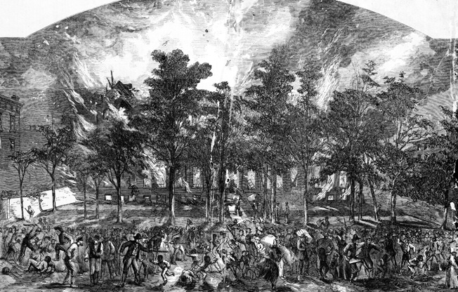 New York City rioters burn and sack the Colored Orphan Asylum on Fifth Avenue and 43rd Street at the height of the rampage. Illustration appeared in Harper's Weekly, August 1, 1863.