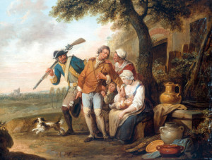 A hard-bitten Prussian recruiting officer dragoons a reluctant peasant into the service in Louis Joseph Watteau's 1770 painting  The Unwilling Recruit.