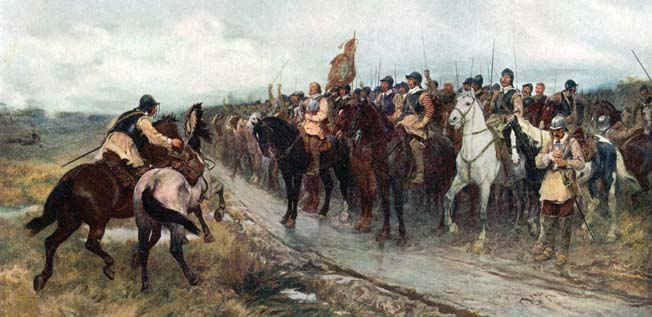 A bareheaded Oliver Cromwell prepares to lead his New Model Army against the Scottish Covenanting Army in a 19th-century painting by Andrew Carrick Gow.
