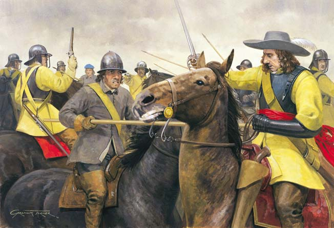 Scottish cavalrymen preferred a short lance, whereas their English counterparts favored sabers, wheellock pistols, and carbines. The lance prevailed when the English ran out of ammunition.