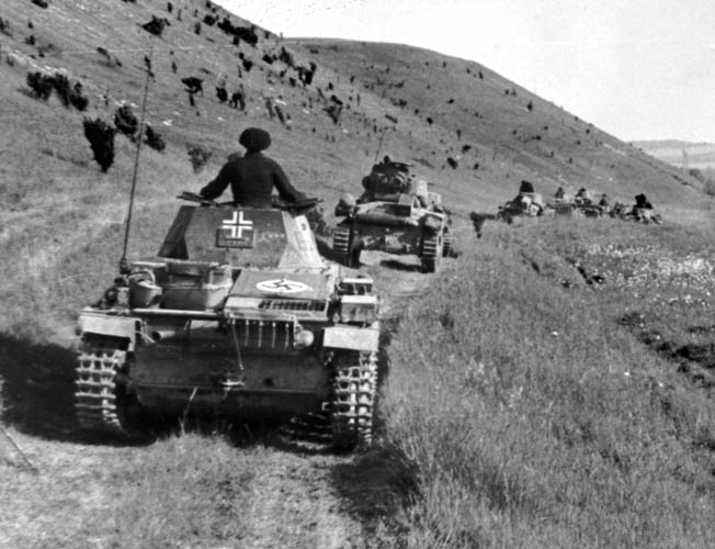 Major General Erwin Rommel's Seventh Panzer Division rolls toward the sea during the Battle of France in the spring of 1940. Allied counterattacks failed to stop the German juggernaut.