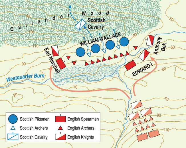English spearmen and archers decimated the front ranks of the schiltrons and the English cavalry attacked the Scots from the rear. Wallace fled the battlefield and two months later resigned as Guardian.