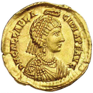Ruthless Galla Placidia, mother of Valentinian III, is pictured on a Roman coin.