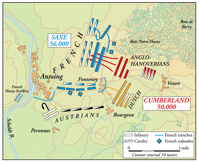 Placing his troops with their backs to the Scheldt River, French Marshal Saxe artfully lured the inexperienced British Duke of Cumberland into making a fatal frontal assault on Fontenoy.