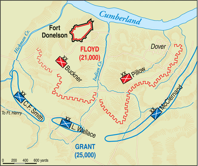 Fort Donelson consisted of a semicircle of earthworks and entrenchments on a ridge west of Dover. The river approach was guarded by batteries located on a high bluff.