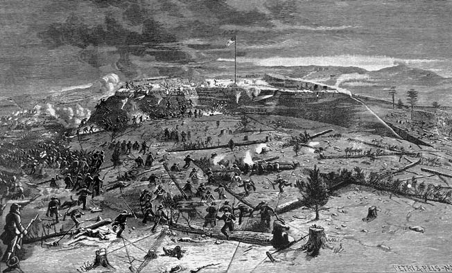 One of the most difficult operations in the Civil War, and one that failed regularly, was the attempt by infantry to storm strongly held fortifications. Following their orders, clusters of Confederates desperately try to fight their way uphill to Fort Sanders.