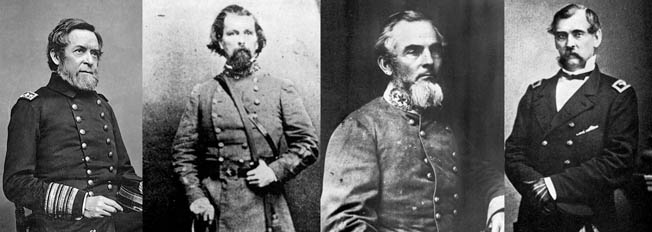 Among the many generals who played important roles in the Tennessee campaign were (left to right) Union Flag Officer Andrew H. Foote, Brig. Gen. Lloyd Tilghman, Confederate Brig. Gen. Gideon J. Pillow, and Union Brig. Gen. Charles F. Smith.