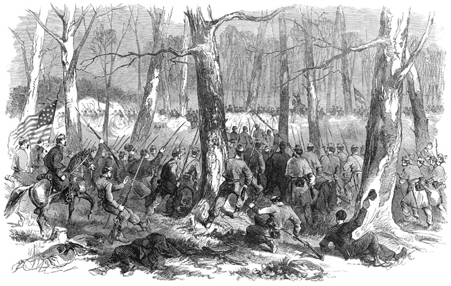 General Lew Wallace's men charge at Confederates who have broken out of Fort Donelson. The Rebels seemingly had an opening to make good their escape when Wallace's men moved in to cut them off.