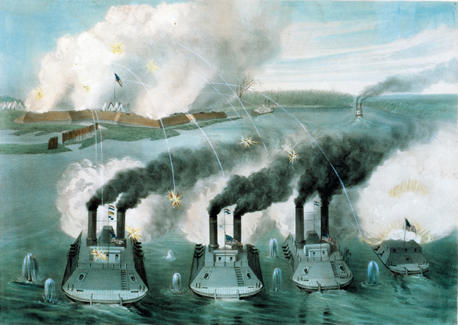 Union gunboats bombard Fort Henry on the Tennessee River. They are, from left to right, the St. Louis, Carondelet, Cincinnati, and Essex. Two Confederate boats flee south, up the river. The Union bombardment, unassisted by a land assault, was successful. Although the artist has shown otherwise, the three largest gunboats were exactly the same size.