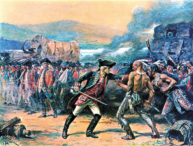 French officers tried but could not hold back their restive Indian allies after the British surrendered Ft. William Henry in August 1757.