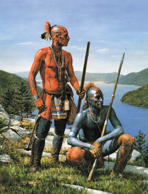 Native American warriors of the Eastern Woodlands painted their bodies to express their emotions. These tow designs depict the most basic conditions- life and death. Painting by Robert Griffing.