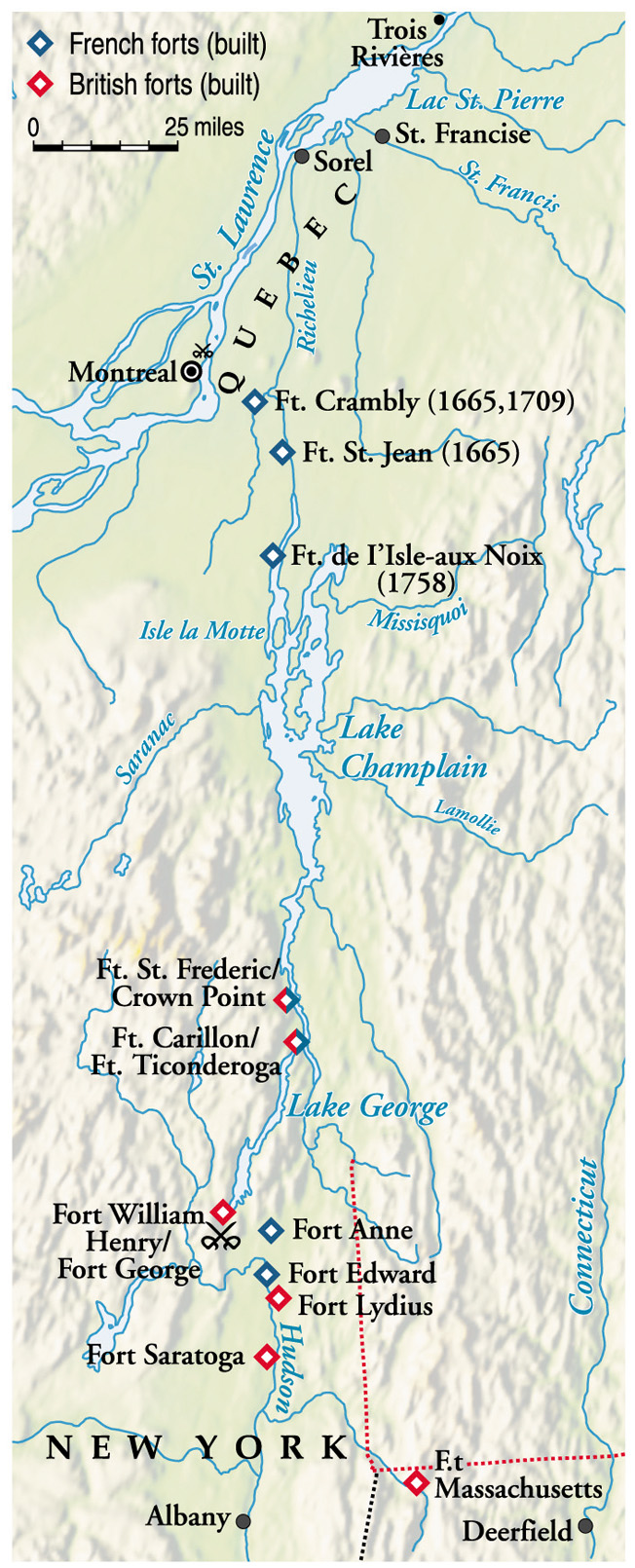 A Series of British forts and strong points safeguard the Hudson River valley in upstate New York.