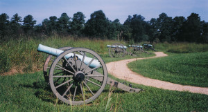 A row of cannons, now silent, were part of a much fought-over Union battery.