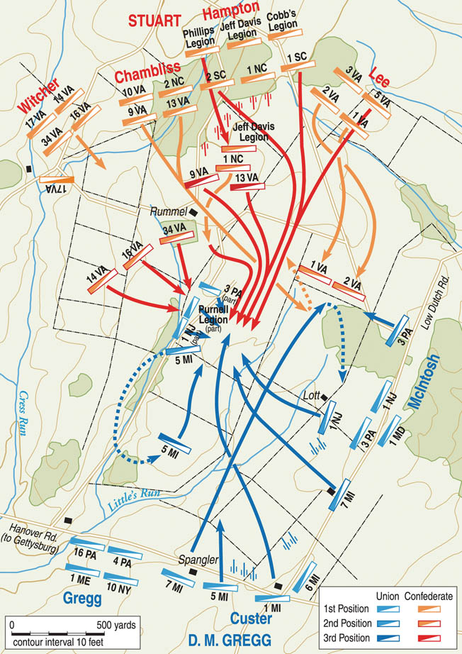 While Robert E. Lee's Confederate infantry prepared a last desperate charge on the Union lines at Gettysburg.