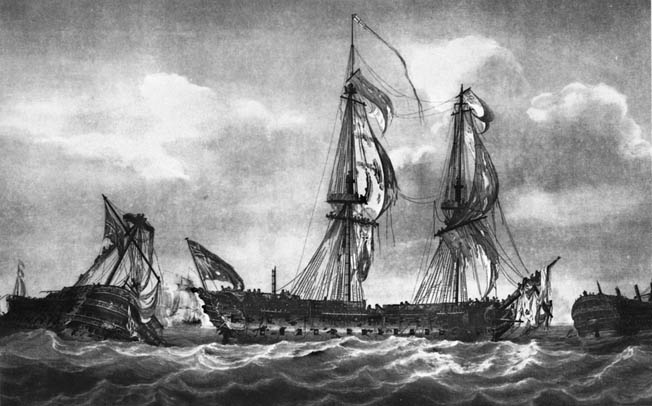 French Admiral Louis Villeret de Joyous was escorting a convoy when he was intercepted by British Admiral Richard Howe off the coast of Brittany.