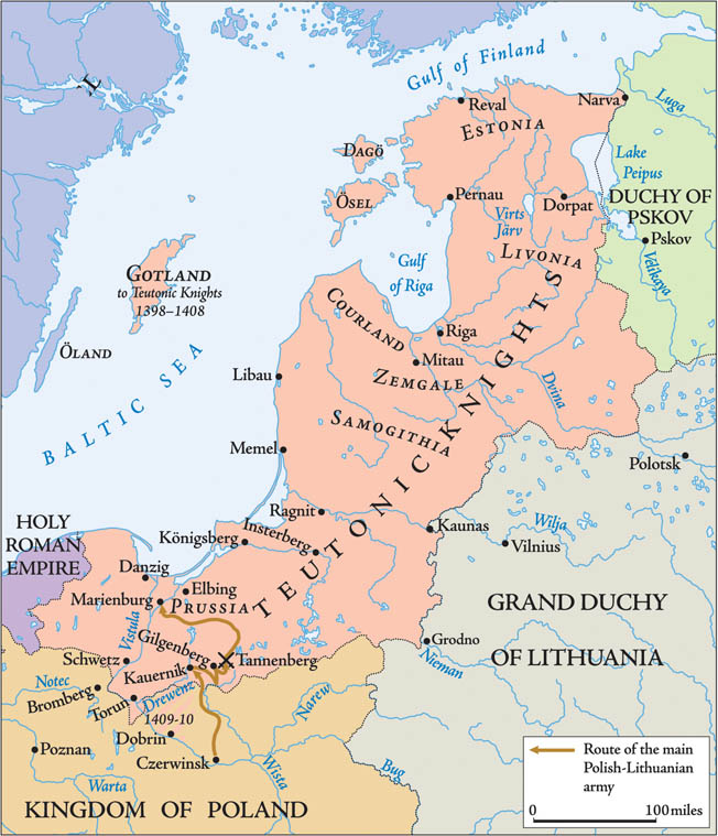 The Teutonic Order launched frequent crusading campaigns against the pagan tribes in the lands along the Baltic Sea. The expanding Polish and Lithuanian states to the south and east threatened Teutonic hegemony.