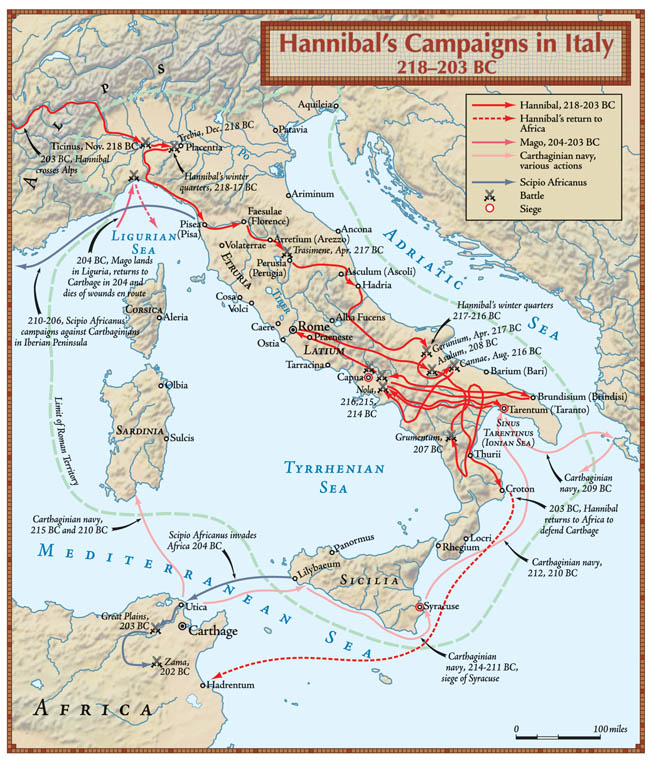 After nearly 15 years of campaigning in Italy, Hannibal had failed to defeat the Romans. When Scipio invaded Africa, Hannibal was compelled to follow.