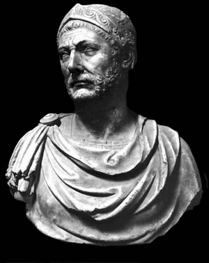 Marble bust of Hannibal Barca.
