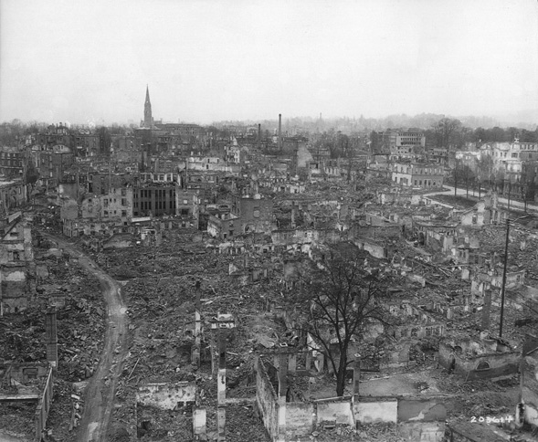 In this overhead snapshot, the massive devastation from Allied air assaults on Heilbronn is readily apparent.