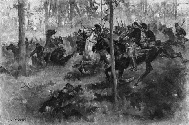 American cavalry under Lieutenant Colonel William Washington saved American artillery during the withdrawal from Hobkirk's Hill, preventing a rout by pursuing British troops.