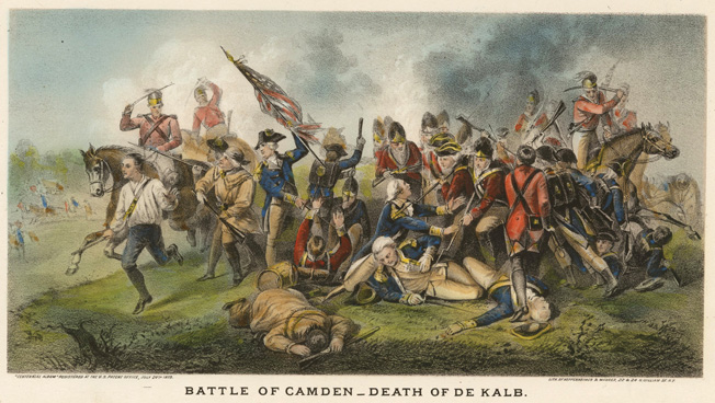 German Baron Johann de Kalb was fatally shot and bayoneted by British soldiers at the Battle of Camden in August 1780 while leading an American division. The crushing defeat brought a change in leadership of the Patriot forces.