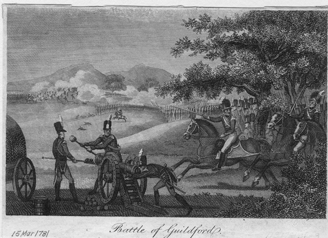 This 1810 engraving of the Battle of Guilford Courthouse shows American troops wearing formal uniforms more appropriate to the next war with the British in 1812.