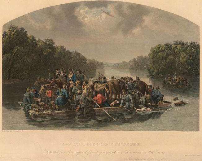 "Partisan General Francis Marion leads his irregular militia across the Peedee River. The elusive Marion won the nickname ""the Swamp Fox"" for his cunning use of South Carolina marshes."