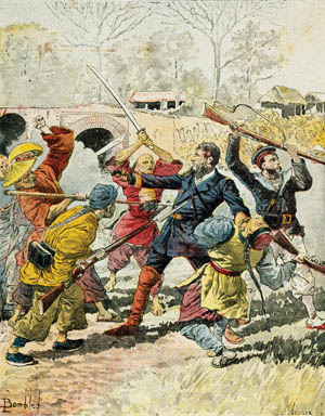 ABOVE: Screaming Black Flag troops hack apart a French column led by Captain Henri Riviere in 1883 on their march inland to Hanoi. They mounted Riviere's head on a pole as a warning to others. RIGHT: Black Flag troops armed with muskets and swords made masterful use of jungle ambushes in the war against the French.