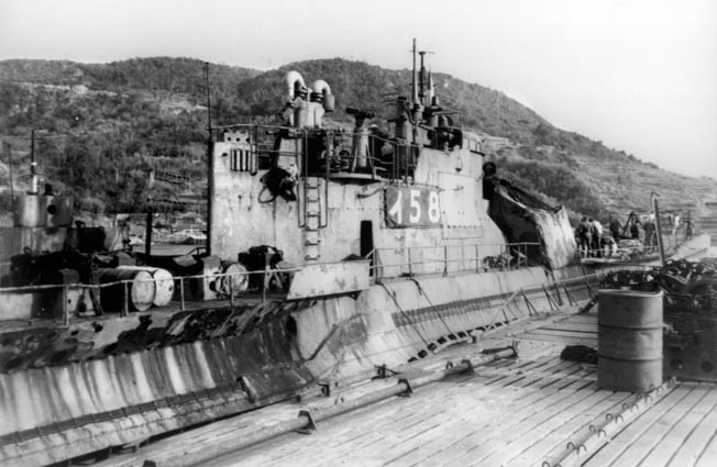 This photo of the Japanese submarine I-58 was taken in January 1946, several months after the surrender of Japan and the end of World War II. The commander of the submarine stalked the Indianapolis and fired six Long Lance torpedoes, sinking the ship with great loss of life just after midnight on July 30, 1945.