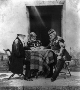 British Commander Lord Raglan meets with Marechal Pelissier (center) and Omar Pacha (right).