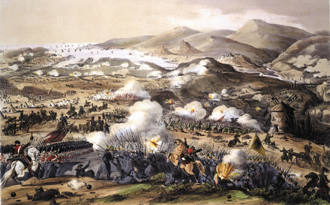 Clouds of gunsmoke dot the rolling countryside at Inkerman during the height of the battle. The British, amred with quick-firing Minie rifles, were able to toffset the Russian weight of numbers in bitter close-quarters fighting.