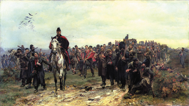 FER96227 #70 The Return from Inkerman in 1854, 1877 (oil on canvas) by Butler, Lady (Elizabeth Southerden Thompson) (1846-1933) © Ferens Art Gallery, Hull City Museums and Art Galleries English, out of copyright PLEASE NOTE: The Bridgeman Art Library represents the copyright holder of this image and can arrange clearance.