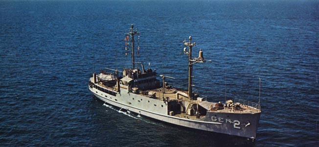 The ill-fated spy ship Pueblo on maneuvers in Puget Sound in 1967.