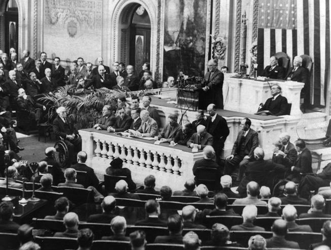 President Roosevelt addresses Congress during a 1939 State of the Union address. He would appear again, most memorably in December 1941.