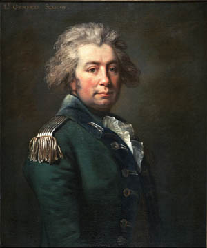 A portrait of John Graves Simcoe.
