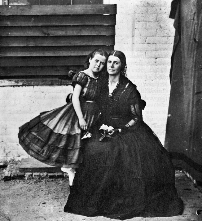 Rose O'Neal Greenhow and her daughter in a photo taken while she was confined by the Union in 1862.