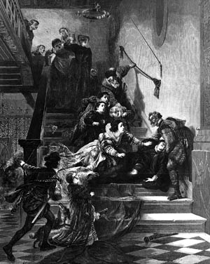 The Prince of Orange slumps on a staircase after being fatally shot on July 10, 1584.