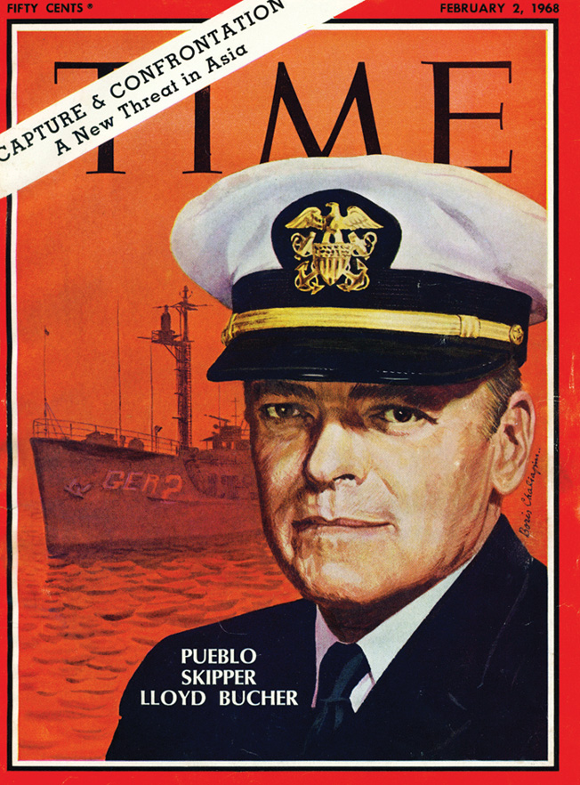 Press coverage of the Pueblo incident was extensive. Here, Commander Lloyd M. Bucher graces the cover of Time magazine.