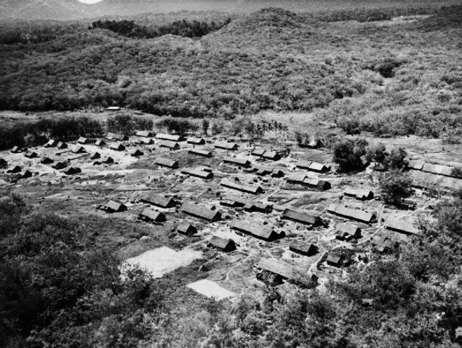 Panoramic view of a Malayan resettlement camp.