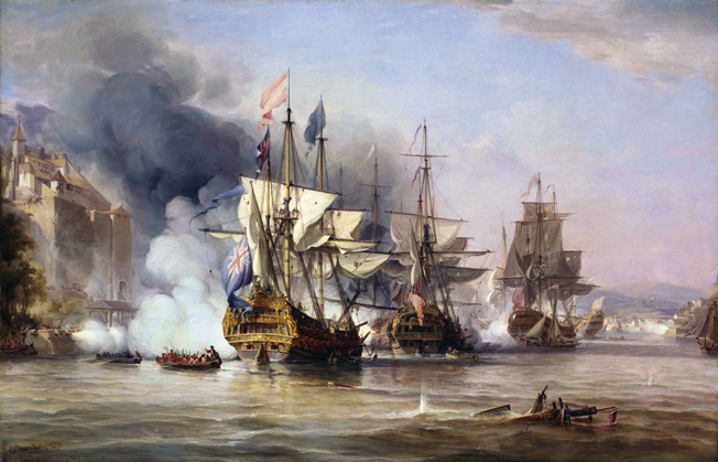 British ships provide covering fire at Porto Bello while marines in rowboats head to shore. The victory took the British just a day to accomplish, but they occupied the town for three destructive weeks.