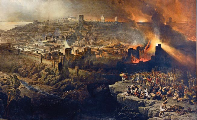 Roman legions press their siege during the fall of Jerusalem in a work by Scottish painter David Roberts. As the siege progressed, Titus relocated the legion camps closer to the front lines and in the new town itself.