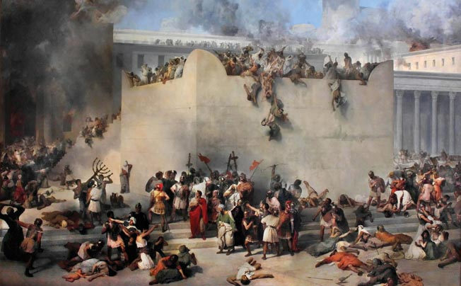 The chaos, disorder, and looting that occurred during the Roman sack of the Great Temple is depicted in a romantic painting by Italian artist Francesco Hayez. The Romans forbade the Jews to rebuild the temple.