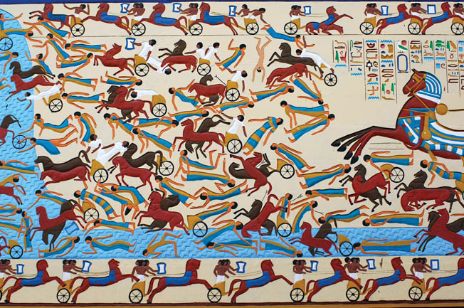 Hittite chariot crews drown in the River Orontes in this view of the climax of the battle. The Hittite casualties were heavy and included six army officers and many of Muwattalli's prominent bodyguards.