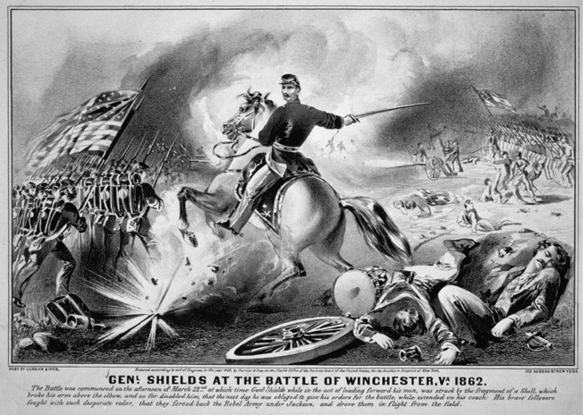 Union Brigadier General James Shields is wounded by an exploding shell during skirmishing one day before Kernstown. Currier & Ives, 1862.