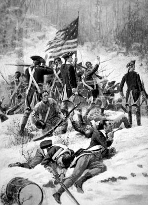 American soldiers fight  Miami Indians, some of  whom were led by Indian  scout William Wells.