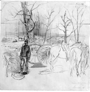 A member of the Pennsylvania Light Artillery stands watch over the battery, two weeks before Kernstown. Sketch by Alfred Waud.
