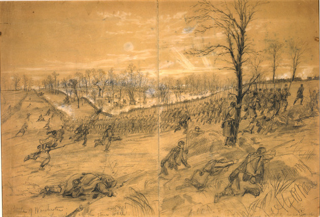 Combat artist Alfred Waud's eyewitness sketch of the Union attack on the stone wall at Kernstown was published three weeks later in Harper's Weekly.